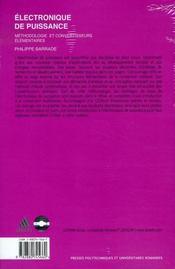 Électronique de puissance ; méthodologie et convertisseurs élementaires - 4ème de couverture - Format classique