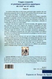 Usages corporels et pratiques sportives aquatiques du XVIIIe au XXe siècle t.2 - Couverture - Format classique