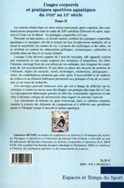 Usages corporels et pratiques sportives aquatiques du XVIIIe au XXe siècle t.2 - 4ème de couverture - Format classique
