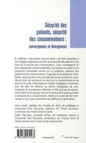 Sécurite des patients, sécurité des consommateurs ; convergences et divergences - 4ème de couverture - Format classique