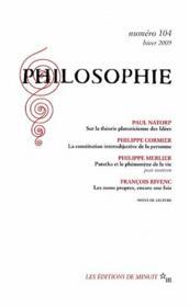 Revue Philosophie N.104 - Couverture - Format classique
