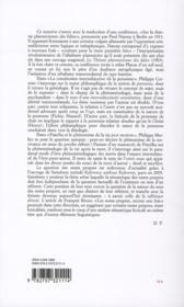 Revue Philosophie N.104 - 4ème de couverture - Format classique