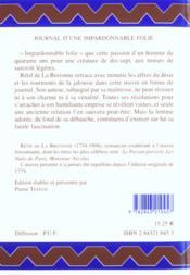 Journal D'Une Impardonnable Folie - 4ème de couverture - Format classique