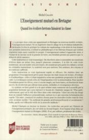 L'enseignement mutuel en Bretagne ; quand les écoliers bretons faisaient la classe - 4ème de couverture - Format classique