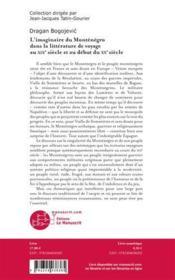L'imaginaire du Monténégro dans la littérature de voyage au XIXe siècle et au debut du XXe siècle - 4ème de couverture - Format classique