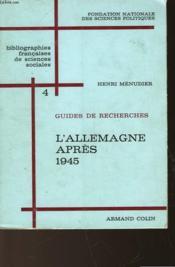 Guide De Recherche - 4 - L'Allemagne Apres 1945 - Couverture - Format classique