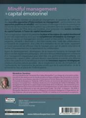 Capital émotionnel positif et mindful management ; l'humain au coeur de la performance des organisations - 4ème de couverture - Format classique