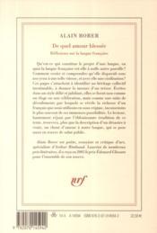 De quel amour blessée : réflexions sur la langue francaise - 4ème de couverture - Format classique