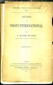 Etudes De Droit International. - Couverture - Format classique