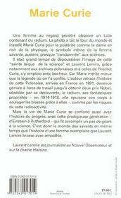Marie curie - 4ème de couverture - Format classique