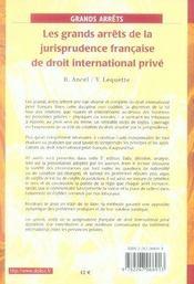 Les grands arrêts de la jurisprudence française de droit international privé (5e édition) - 4ème de couverture - Format classique
