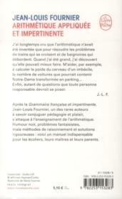 Arithmetique appliquee et impertinente - 4ème de couverture - Format classique