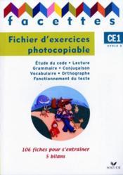 FACETTES ; français ; CE1 ; fichier photocopiable - Couverture - Format classique