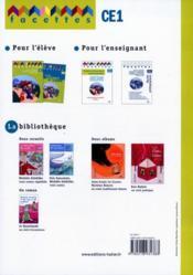 FACETTES ; français ; CE1 ; fichier photocopiable - 4ème de couverture - Format classique
