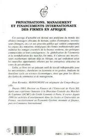 Privatisations, Management Et Financements Internationaux Des Firmes En Afrique - 4ème de couverture - Format classique