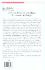 Nouveau précis de sémiologie des troubles psychiques - 4ème de couverture - Format classique