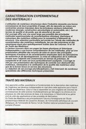 Caractérisation expérimentale des matériaux t.1 - 4ème de couverture - Format classique