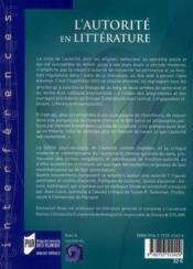L'autorité en littérature - 4ème de couverture - Format classique