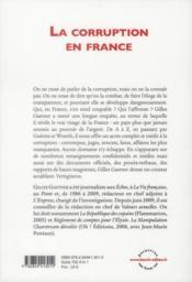 La corruption en France ; la République en danger - 4ème de couverture - Format classique