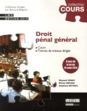 Droit pénal général - Couverture - Format classique