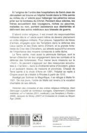 Les hospitaliers ; de Jérusalem à Rhodes ; 1050-1317 - 4ème de couverture - Format classique