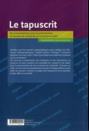 Le tapuscrit - 4ème de couverture - Format classique