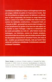 Dictionnaire occitan français des termes d'architecture - 4ème de couverture - Format classique