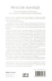 Préhistoire atlantique ; fonctionnement et évolution des sociétés, du Paléolithique au Néolithique - 4ème de couverture - Format classique