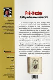 Pre(-)textes poetique d'une deconstruction - poetique d'une deconstruction - 4ème de couverture - Format classique