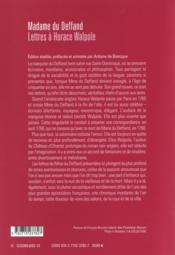Lettres à Horace Walpole - 4ème de couverture - Format classique
