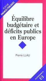 Equilibre budgetaire et deficits publics en europe - Intérieur - Format classique