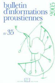 Bulletin D'Informations Proustiennes N.35 - Intérieur - Format classique