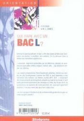 Que faire avec un bac l ? (6e édition) - 4ème de couverture - Format classique