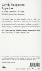 Apparition ; et autres contes de l'étrange - 4ème de couverture - Format classique
