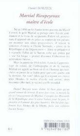 Martial rieupeyroux, maître d'école - 4ème de couverture - Format classique