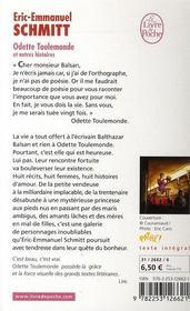 Odette Toulemonde et autres histoires - 4ème de couverture - Format classique