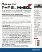 Sécurité php 5 et mysql - 4ème de couverture - Format classique