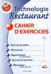 Cahier exercices bep technologie restaurant - Couverture - Format classique
