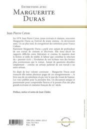 Entretiens avec Marguerite Duras - 4ème de couverture - Format classique