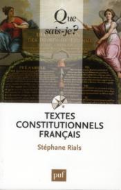 Textes constitutionnels francais ; 24e édition - Couverture - Format classique