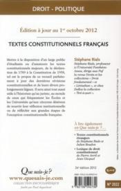 Textes constitutionnels francais ; 24e édition - 4ème de couverture - Format classique