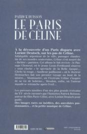 Le Paris de Céline - 4ème de couverture - Format classique