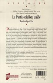 Parti socialiste unifie - 4ème de couverture - Format classique