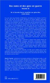 Des noms et des gens en guerre t.2 ; de la Seconde Guerre mondiale aux génocides (1939-1945) - 4ème de couverture - Format classique