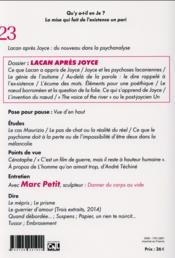 EN-JE LACANIEN N.23 ; Lacan après Joyce - 4ème de couverture - Format classique