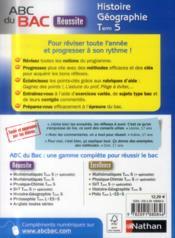 Abc Du Bac Reussite ; Histoire-Géographie ; Terminale S - 4ème de couverture - Format classique