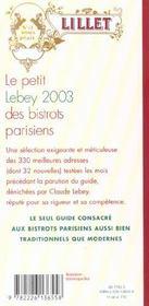 Le petit Lebey 2003 des bistrots parisiens - 4ème de couverture - Format classique