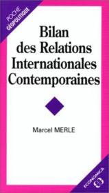 Bilan des relations internationales contemporaines - Couverture - Format classique