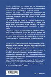 Guide Medico-Legal Du Professionnel En Psychiatrie - 4ème de couverture - Format classique