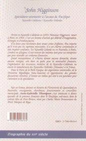 John Higginson, Speculateur-Aventurier A L'Assaut Du Pacifique ; Nouvelle-Caledonie Nouvelles-Hebrides - 4ème de couverture - Format classique